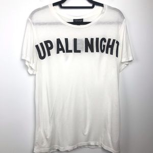 NWT TOPSHOP Up All Night Off White Burnout Tee